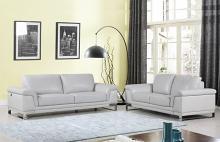 411-LTGR-2PC 2 pc Orren ellis hawkesbury divanitalia light grey italian leather sofa and love seat set
