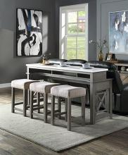 Acme DN00088 4 pc Wandellai weathered grey finish wood marble top counter height dining table set