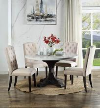 Acme DN00090 5 pc Canora grey fasano weathered espresso finish wood round marble top dining table set