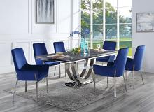 Acme DN00221-22 7 pc Cambrie mirrored silver metal and faux assure blue marble top dining table set