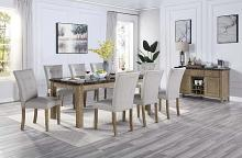 Acme DN00553 7 pc Gracie oaks charnell rustic oak finish wood marble top dining table set