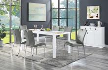 Acme DN00740 7 pc Gracie oaks pagan glossy white finish wood dining table set