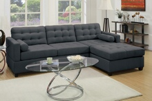 Poundex F7587 2 pc manhattan reversible slate black linen like fabric sectional sofa with reversible chaise