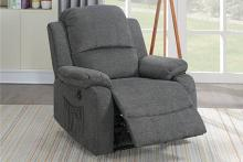 Poundex F86028 Joy Kona slate velvet fabric power motion recliner with USB power plug on side