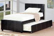 Poundex F9214T Wrought studio shula espresso faux leather twin size bed with twin size trundle bed, slat kits included