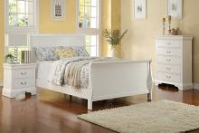 Poundex F9254T 3 pc queen anne white finish wood sleigh style twin / full bed set
