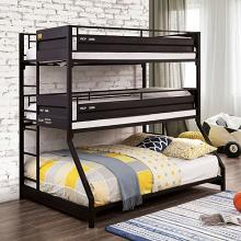 FOA-BK971BK Zoomie kids bunce dicarlo triple twin over twin over full gunmetal metal frame bunk bed