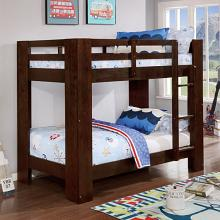 FOA-BK972EX Suzie dark walnut wire brushed finish wood twin over twin bunk bed with wide posts