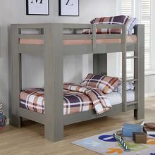 FOA-BK972GY Suzie gray wire brushed finish wood twin over twin bunk bed with wide posts