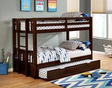 FOA-BK974EX Kadence dark walnut finish wood twin bunk bed with extendable low bed and trundle