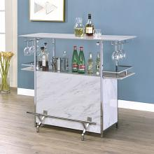 FOA-BT8343 Rianna white finish faux marble bar table with wine racks and foot rest