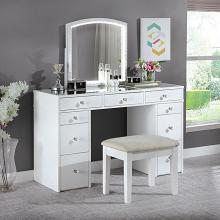 FOA-DK5240 3 pc Rosdorf park sheffield louise white finish wood make up bedroom vanity set