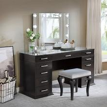 FOA-DK5682DG 3 pc Rosdorf park sheffield valentina obsidian gray finish wood make up bedroom vanity set