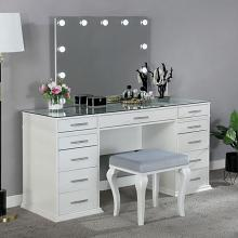 FOA-DK5682WH 3 pc Rosdorf park sheffield valentina luminous white finish wood make up bedroom vanity set