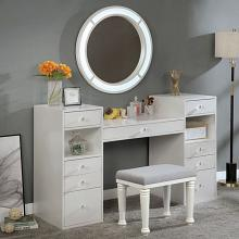 FOA-DK5683WH 3 pc Rosdorf park sheffield yasmine luminous white finish wood make up bedroom vanity set