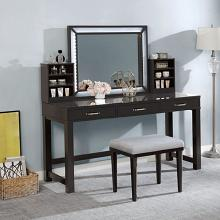 FOA-DK5685DG 3 pc Rosdorf park sheffield stephanie obsidian gray finish wood make up bedroom vanity set