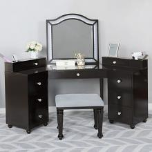 FOA-DK5686DG 3 pc Rosdorf park sheffield tracie obsidian gray finish wood corner make up bedroom vanity set