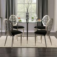 "FOA3743T-5PC 5 pc Towson abner modern style silver metal 48"" round glass top dining table set"