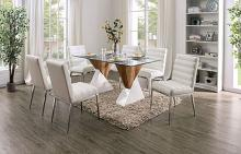 FOA3747T-7PC 7 pc Latitude run grahame binjai white and natural finish wood glass top dining table set