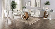 FOA3748T-7PC 7 pc Latitude run thiago cilegon white and natural finish wood glass top dining table set