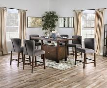 FOA3779PT 7 pc Canora grey mel macedo walnut finish wood counter height dining table set