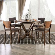 "FOA3787RPT 5 pc Canora grey mel marina walnut finish wood 54"" round counter height dining table set"