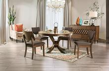 "FOA3787RT 5 pc Canora grey mel marina walnut finish wood 54"" round dining table set"