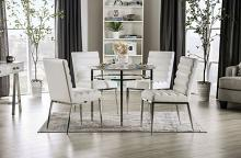 "FOA3797RT 5 pc Canora grey mel serena faux marble top chrome metal legs 39"" round dining table set"