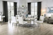 FOA3798T 7 pc Canora grey mel sindy light gray faux marble top chrome metal legs dining table set