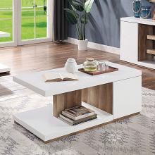 FOA4495C Ebern designs arabinda moa natural tone wood high gloss white finish coffee table