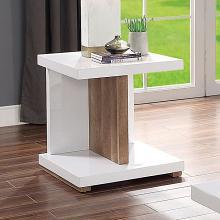 FOA4495E Ebern designs arabinda moa natural tone wood high gloss white finish end table