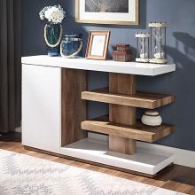 FOA4495S Ebern designs arabinda moa natural tone wood high gloss white finish sofa entry console table