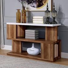FOA4496S Brayden studio yoel majken natural tone wood sofa entry console table with high gloss white finish top