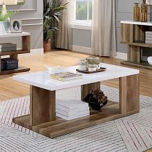 FOA4496C Brayden studio yoel majken natural tone wood coffee table with high gloss white finish top