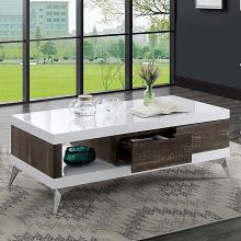 FOA4535C Orren ellis kother corinne distressed dark oak finish wood high gloss white finish coffee table