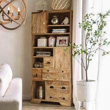 FOA51008 Bungalow rose lynchburg Blanchefleur weathered rustic natural tone finish wood bookshelf storage cabinet