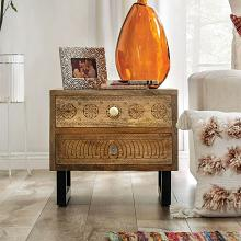 FOA51011 Dakota fields finlayson Blanchefleur weathered rustic natural tone finish wood nightstand end table