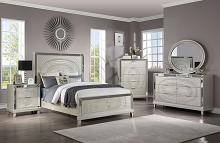FOA7157 5 pc Valletta glam champagne finish wood textured paneled design queen bedroom set