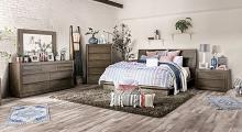 FOA7491-4PC 4 pc Pickstown textured wood grain light walnut finish wood paneled design queen bedroom set