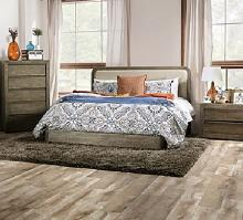 FOA7492 Gracie oaks watertown light walnut textured wood grain finish and beige upholstered queen bed