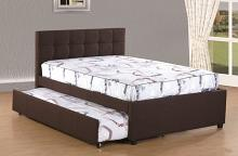 K26 Brayden studio davon coffee brown linen like fabric full size bed twin size pull out trundle bed