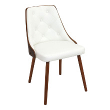 Gianna Mid-century Modern Chair in Walnut and White