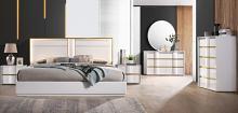 Best Master Havana 4 pc Orren ellis kumail Havana white high gloss finish wood with gold trim modern style queen bed set