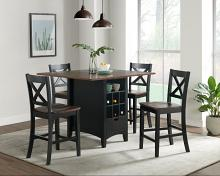 VH-333-5PC 5 pc Gracie oaks Rhodes two tone brown and antique black finish wood counter height kitchen island table set
