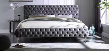Best Master JJ201-GY Willa arlo interiors loden II grey velvet fabric tufted queen bed set