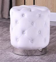 Best Master JO002-WH Dalvik white velour fabric round tufted ottoman footstool with stainless steel trim