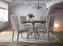 Best master Karen-5pc 5 pc Karen weathered gray finish wood round dining table set