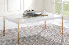 Acme LV00034 Everly quinn otrac gold metal high gloss white top coffee table