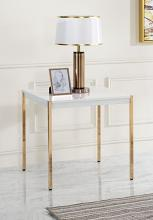 Acme LV00035 Everly quinn otrac gold metal high gloss white top end table