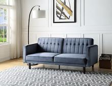 Acme LV00085 Ivy bronx qinven dark grey velvet tufted fabric adjustable sofa futon bed with arms